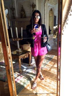 This is one of my favorites looks...It is a bright pink romper paired with a black textured jacket and Chanel sandals. I just love pairing black and pink together because the pink makes it girly where as the black makes it edgy. I am obsessed with blazers right now and this is a favorite. It is light and perfect for a cooler summer day and even more perfect for the Fall.